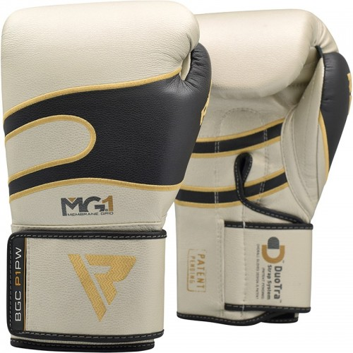 Боксерские перчатки RDX Leather Pearl White 16 ун.