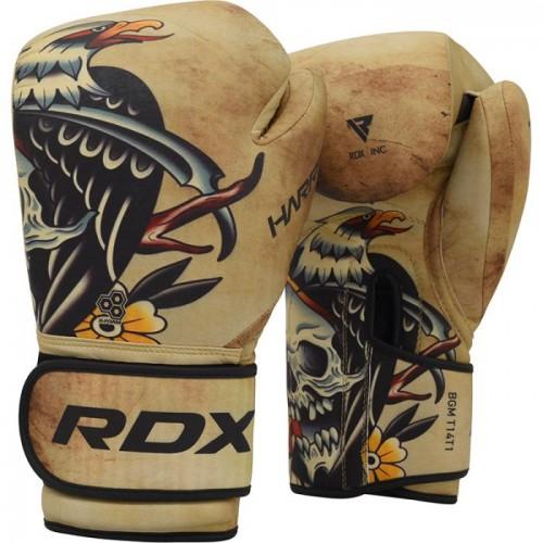 Боксерские перчатки RDX T14 HARRIER Brown Tattoo 14 ун.